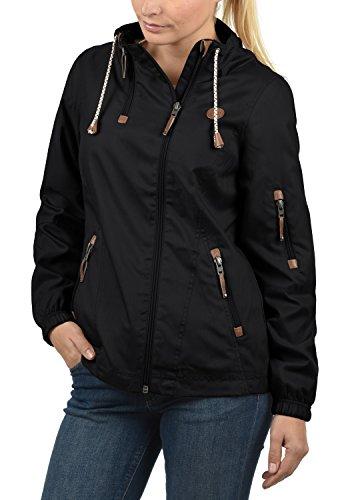 DESIRES Belle Damen Regenjacke Windbreaker Übergangsjacke mit Stehkragen, Größe:L, Farbe:Black (9000)