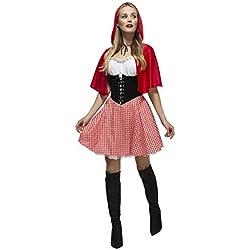 Fever Kollektion Rotkäppchen Kostüm mit Kleid Unterrock und Umhang mit Kapuze, Small