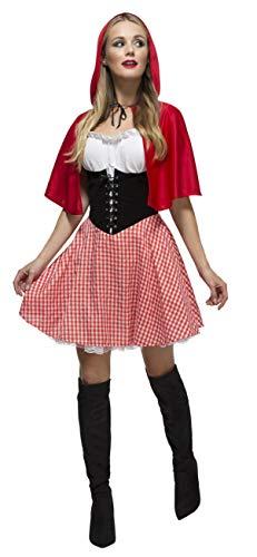 fasching rotkaeppchen Fever Damen Rotkäppchen Kostüm, Kleid, Unterrock und Umhang mit Kapuze, Größe: L, 38490