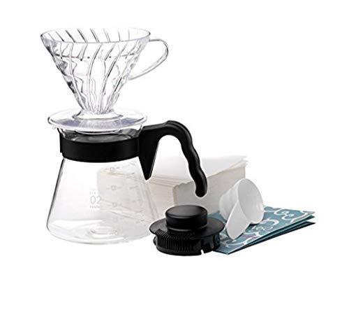 Hario 4977642020955 V60 Einsteigerset Kaffee 4tlg, Glas, schwarz