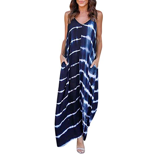 SMILEQ Women Cami Long Maxi Dress Stripe Wave Deep V Low Cut Summer Beach Sundress Loose asual Pockets Skirt
