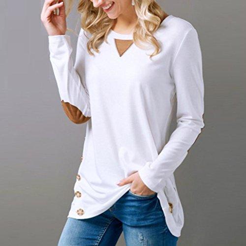 Longra Tee shirt Femme Fille Chic Uni Col rond Manche longue Sweat-shirt Femme Pull Femme Printemps Top Mi longue Femme Haut Femme Chic Tee shirt Femme Marque Top demi saison Femme Mode Blanc