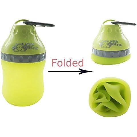 Borraccia per cani con moschettone | coperchio della bottiglia d' acqua viaggio utilizzabile come acqua ciotola 400 ml in acciaio inox per cani grandi e piccoli blu/verde/rosa - Portatile Dog Bath