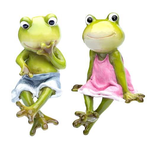 2er Set Deko Frosch Kantenhocker, Dekofigur Froschpaar, Froschfigur, Mädchen und Junge