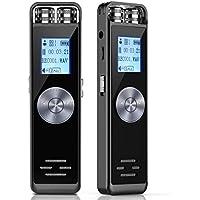 Grabadora de Voz Digital,ADOKEY 8GB Dictáfono Grabador de Sonido,Audio HD Grabador Portatil Recargable con Doble Micrófono,MP3,Repetición A - B/One Touch Grabación,Conferencias/Entrevistas/Clase