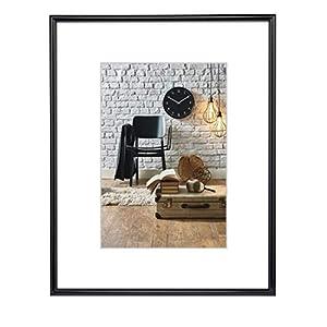 Hama Sevilla Bilderrahmen, DIN A3 (29,7 x 42 cm), mit Papier-Passepartout 18 x 24 cm, bruchsicheres Kunststoff Glas, zum Aufhängen, schwarz