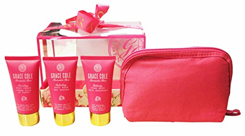 Grace Cole Rose romantique 4 - Pc Gift Set for Her : Sac à main crème Body Wash Bain moussant