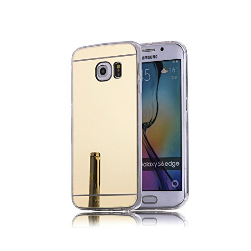 DBIT Galaxy S6 Edge hülle, Schlank Handy-Gehäuse Hülle Spiegel TPU Case Schutzhülle Silikon Case Tasche Für Samsung Galaxy S6 Edge,Gold