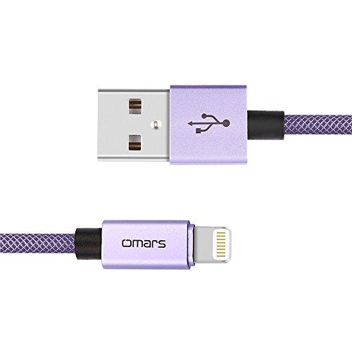 iPhone Ladekabel 1.8m [Apple MFi Zertifiziert] OMARS Dauerhaft umflochtenes Nylon USB Ladekabel mit Aluminum Anschluss für iPhone iPad und iPod