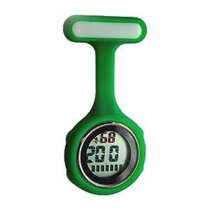 Ellemka – Krankenschwestern Pfleger Chefs   Digitale Anzeige Ansteckuhr Taschenuhr   Digitales Quarzuhrwerk   Hängeband aus Silikon mit Pinnadel   NS-888 – Grün Dark Green OVP