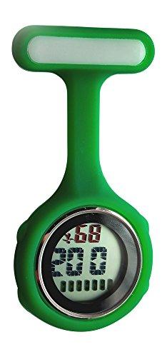 Ellemka JCM-330 - Digitale Schwesternuhr Clip zum Anstecken FOB Kittel Silikon Krankenschwester Pflege-r Quarz Puls-Uhr Taschen Ansteck-Nadel Fashion Trend Design Farbe Dunkelgrün Dark Green – OVP