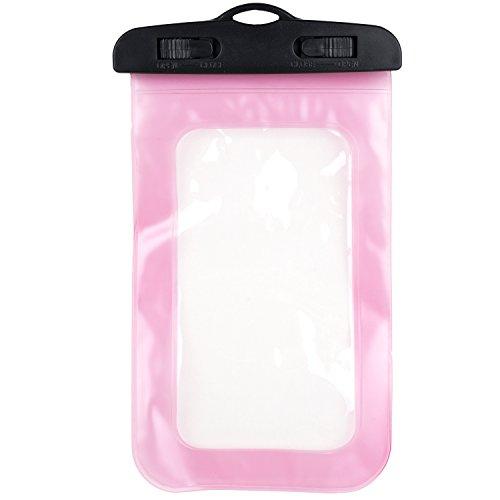 Movoja® Unterwasser-Handy-Schützhülle in Pink | Wasserdichte Tasche | für alle Smartphonemodelle bis 5.5 Zoll | iPhone 6 6s 7 7 Plus Huawei Samsung S7 S8 | Perfekter Sandschutz | Unterwasserhülle Pink