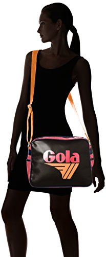 Gola Classics - Redford Cub 901, Borsa messenger Unisex - Adulto Nero (Black/Rasp/Orange)
