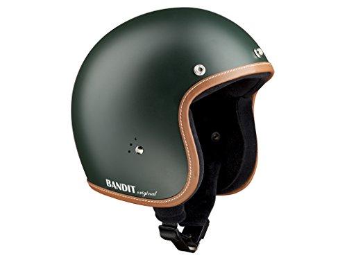 Bandit Helmets Jethelm premium kleine Bauweise Innenfutter Baumwolle Brillenschlaufe Sonnenschild, Größe:L(59-60cm), Farbe:gruen-matt -