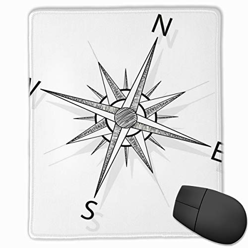 Mouse Mat Stitched Edges, Black And White Compass For Finding Your Way On The Sea Marine Life Exploration,Gaming Mouse Pad Non-Slip Rubber Base Compass Rose Marine