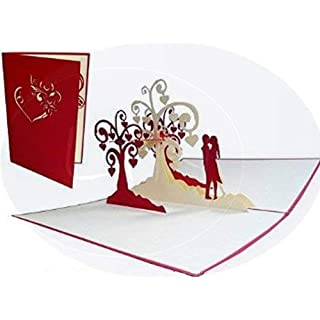 Lin Pop Up Cards. Wedding Cards, Wedding Invitations, Valentine's Day Cards, 3D Cards, Greetings Cards, Congratulations Cards, Kissing Couples, Heart Trees