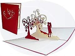 Idea Regalo - LIN Biglietto Pop Up 3D per matrimonio, invito di nozze, San Valentino, biglietti di auguri, motivo: coppia che si bacia/alberi di cuori