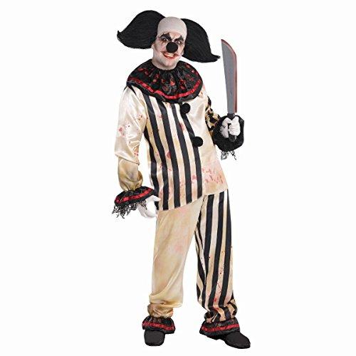 Kostüm Evil Schwarz Jester Weiß Und - Herren Psycho Clown Kostüm Harlekin Evil Jester - schwarz weiß - Gr. M/L