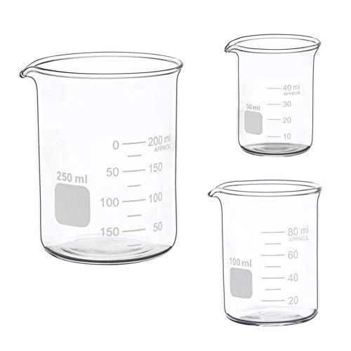 REFURBISHHOUSE Bicchiere Basso Misuratore di Vetro Set 50ml Bicchiere Graduato in Vetro da 250 Ml Set da 250 Ml