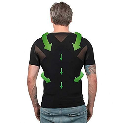 MyPosture Haltungskorrigierende Kleidung Männer - Haltungskorrektur Herren T-Shirt für Rücken & Schulter - Haltungs-Shirt gegen Nacken & Schulterschmerzen für perfekte Körperhaltung-L-Schwarz