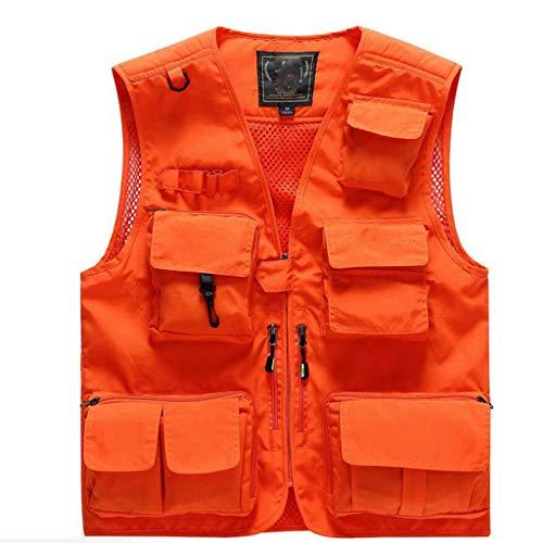 QARYYQ Wanderweste Mit Vielen Taschen Aus Leichtem Netzmaterial Für Reisen, Sport, Wandern, Vogelbeobachtung Reflektierende Kleidung (Color : A, Size : XL) -