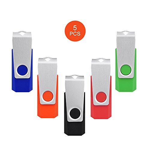 KEXIN 5 Stück 2GB USB Stick USB 2.0 Rotate Metall Pack(schwarz blau rot orange grün) (2GB*5PCS) (Gb Usb-flash-laufwerk-pack 2)