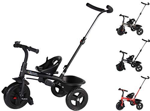 Clamaro \'Buttler Basic\' 2in1 Kinderwagen Dreirad ab 1 Jahr mit lenkbarer Schubstange, mit flüsterleisen Gummireifen, Vor- und Rücklauf, Kinderdreirad für Jungen und Mädchen - Schwarz matt