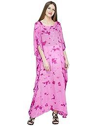 SKAVIJ Women's Tunic Embroidered Tie-dye Long Kaftan Maxi (Free Size)