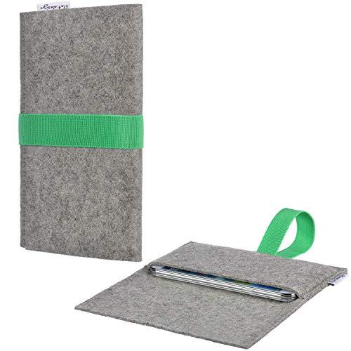 Tablet Tasche AVEIRO mit Filzdeckel und Gummiband für Blaupunkt Endeavour 1100 - Schutz Case Etui Sleeve Filz Made in Germany hellgrau grün - passgenaue Tablethülle für Blaupunkt Endeavour 1100