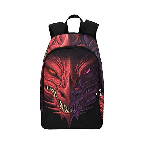 Head Angry Red Dragon On Black Casual Zaino da viaggio Daypack Zaino scuola...