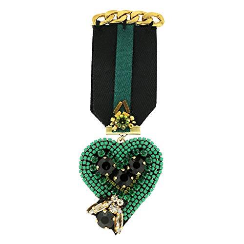 Sweet Deluxe Brosche Rubina Heart, schwarz/grün I ausgefallene Blusenbrosche für Damen & Mädchen I Frauen-Brosche für Abendkleid & Bluse I Anstecknadel
