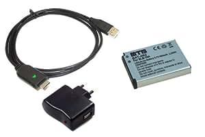 Batterie SLB-10A + Cable USB + Chargeur pour Samsung PL65, SL102, SL202, SL310W, SL420