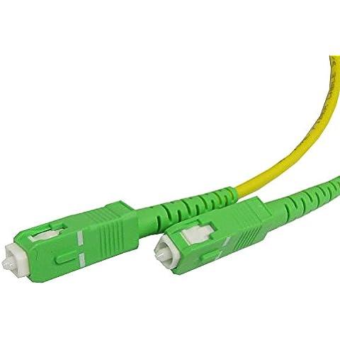 Cable de fibra óptica SC/APC a SC/APC monomodo simplex 9/125 de 15 m - Cablematic