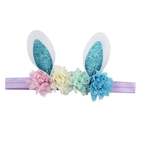 Fenteer Bunny Kostüm Haarreif Hasenohren Haarband Stirnband Blumen Haarschmuck Babyschmuck fü Geburtstag Geschenk Karneval Hochzeit Party - E