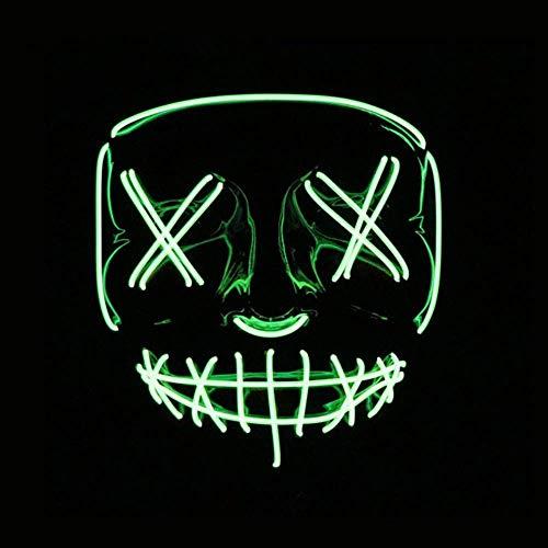 Wbdd Maske Led Maske Halloween Party Maske Maskerade Masken Neon Maske Licht Glühen In Der Dunklen Mascara Horror Maska Glühende Masker Purge Fluoreszierendes Grün