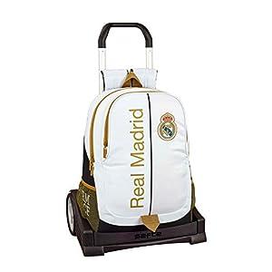 411IC3756WL. SS300  - Real Madrid CF Mochila con Carro Ruedas Evolution, Trolley Equipaje para niños, Blanco, Talla Única