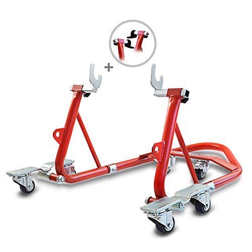ConStands Mover I - Motorrad Montageständer hinten ConStands Mover I Universal Rot Hinten Rangierhilfe Hinterrad-Ständer Heber Universal