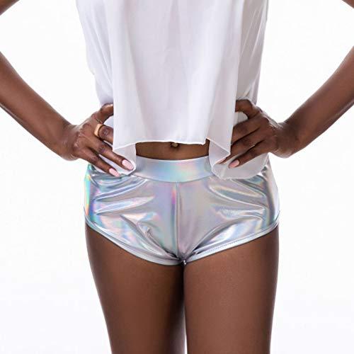 Hibote Frauen Metalic Shiny Disco Shorts Hohe Taille Ballett Übung Jazz Elastische Shorts Tanzkostüm Hotpants