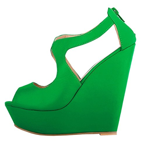 MERUMOTE Damen Y-007 Peep Toe Back Zipper Keil-Plattform High Heels Sandalen Green-Matte
