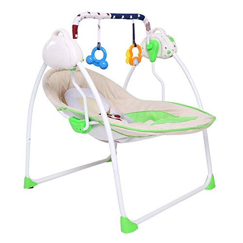 NWYJR Baby Wippe einstellbar Neugeborenen Vibration bequem elektrische Multifunktions faltbarer Swing Bouncer , green (Bouncer Faltbar)