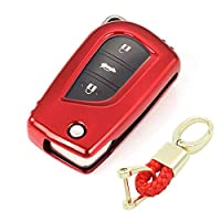 Royalfox(TM) 2/3/4 buttons soft tpu folding keyless remote Key Fob case Cover For Toyota Levin Camry Highlander RAV4 Fortuner,2019 2018 2017 Toyota Corolla iM keychain (red)