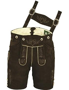Trachten Lederhose Herren kurz, Damen Trachtenlederhose aus echt Leder Wildbock mit Träger in Braun