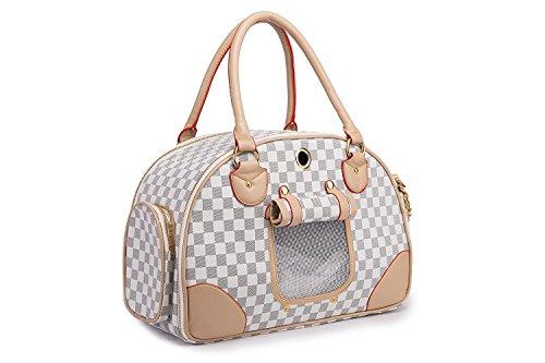 Groß Transporttasche für Hunde und Katzen bis 5kg Hundebox Hundetasche Katzentasche 42cm*29cm*18cm (Weiß)