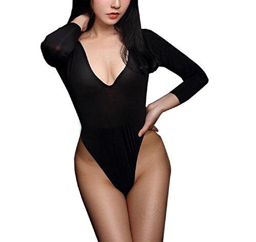 Lazutom Sexy Mujer Alta Corte Ver a través de Body Tanga Manga Larga Lencería Negro Talla única