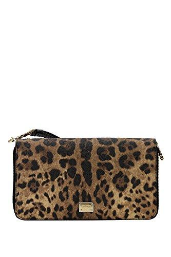 Portafogli Dolce&Gabbana Donna Pelle Leopardato, Nero e Oro BI2138A71588S193 Marrone 4x12x21 cm