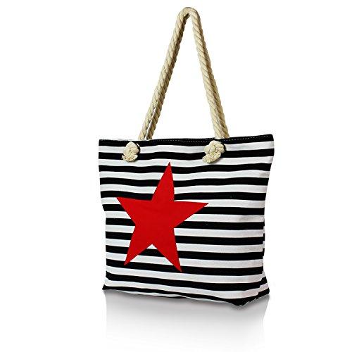 Gloop Top Fashion Sterne Handtasche Schultasche Canvas KunstLeder Trend Tragetasche TS201701 23044 Schwarz