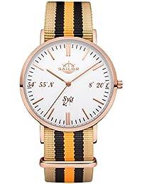 Sailor Reloj Limited Edition Sylt, Model: Sylt en rosègold/blanco con nylon pulsera | Reloj de cuarzo con indicador analógico | Exclusivo del Mar del Norte Accessories4men 2017, color pulsera: Shelf
