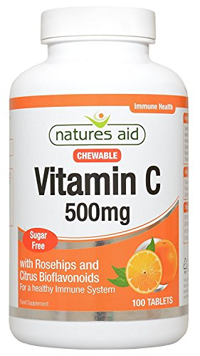 Natures Aid 500mg Vitamin C Sugar Free Chewable with Rosehips and Citrus Bioflavonoids Tablets - Pack of 100 Tablets Test