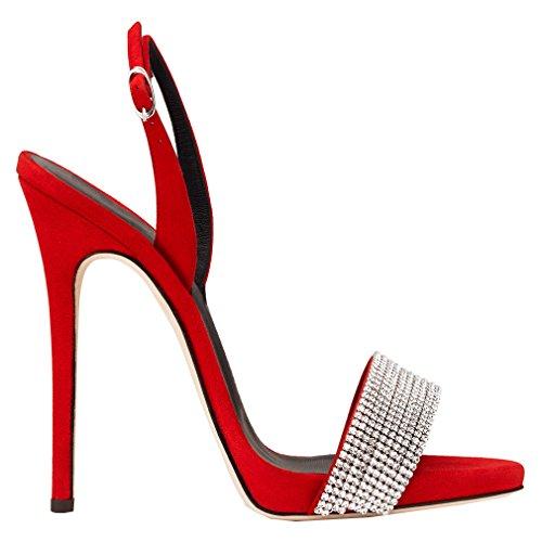 ENMAYER Femmes Sexy Stiletto Talons Hauts Sandales Ouvertes Orteils avec Strass Rouge(Faux Diamant)