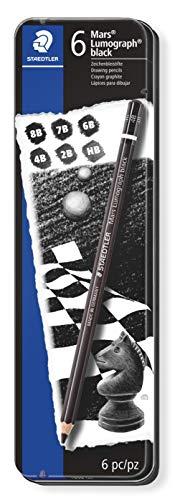 Staedtler Lumograph - Lápices de madera en caja metálica (dureza 8B - 2B, 6 unidades), color negro